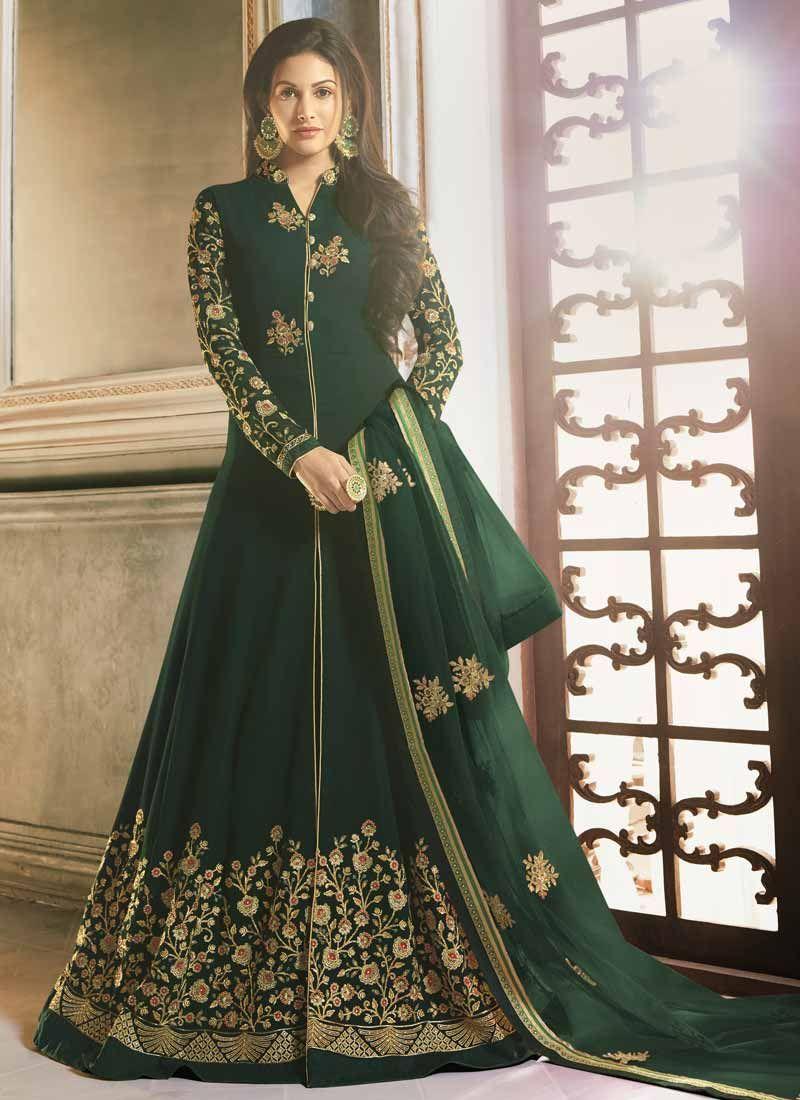 Lace Green Faux Georgette Floor Length Anarkali Suit