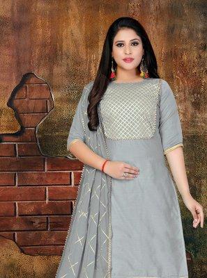 Lace Grey Faux Chiffon Designer Salwar Kameez