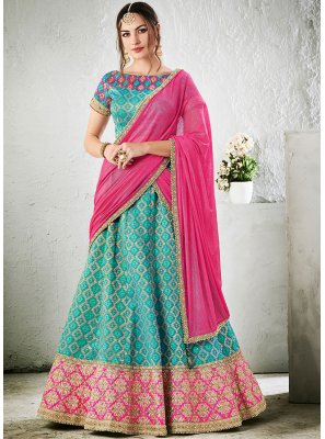 Lace Jacquard Silk Lehenga Choli in Aqua Blue
