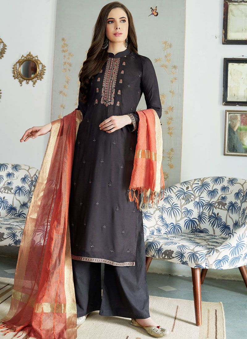 Lace Muslin Designer Palazzo Suit in Black