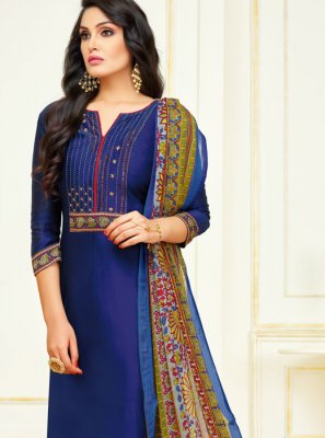Lace Navy Blue Cotton Churidar Salwar Suit