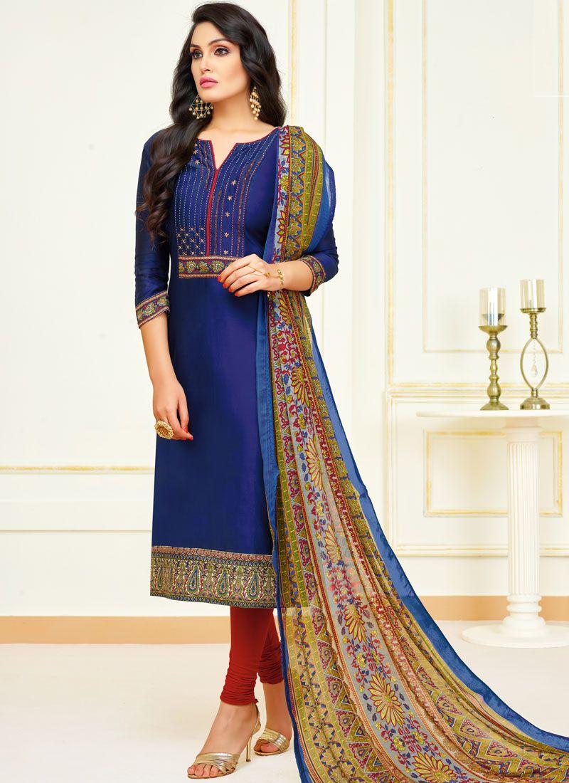 Lace Navy Blue Cotton Churidar Salwar Suit