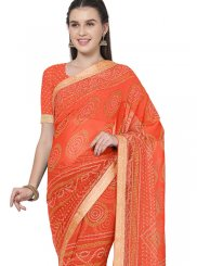 Lace Orange Faux Georgette Saree