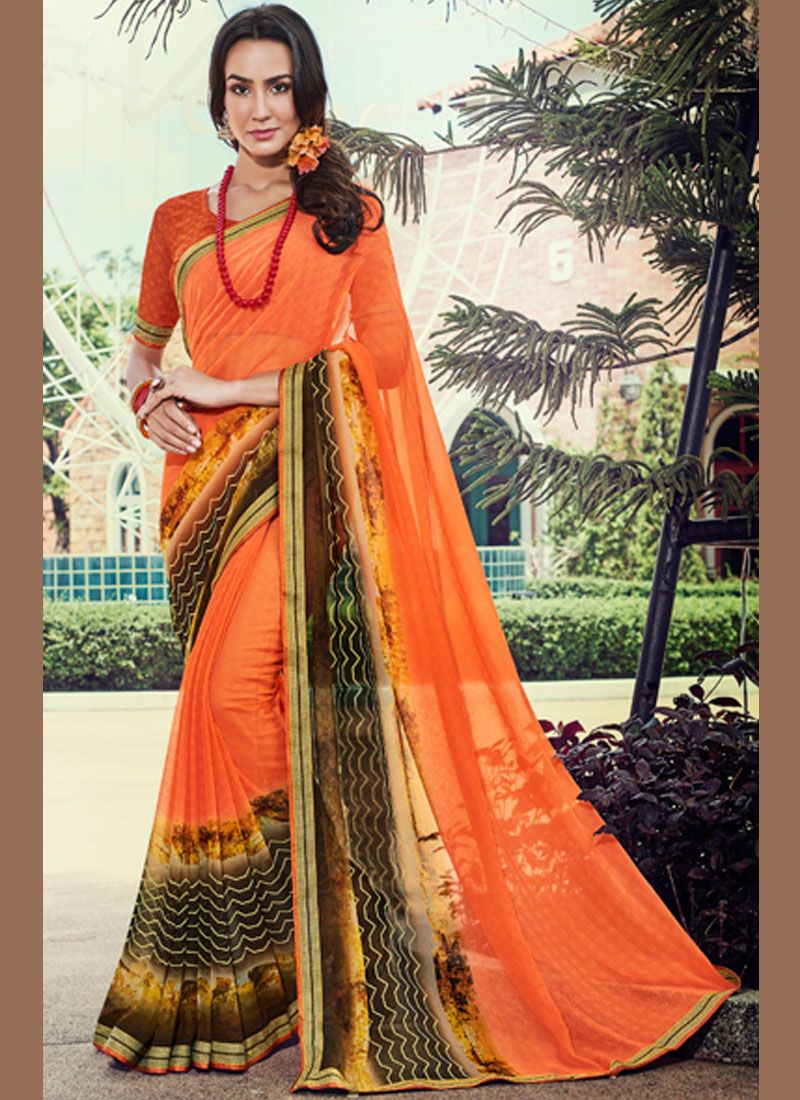 Lace Orange Faux Georgette Trendy Saree