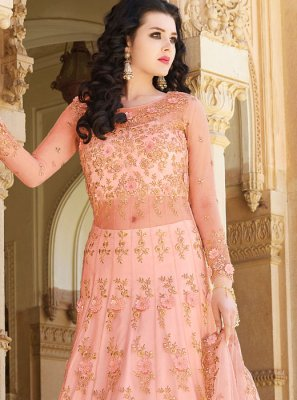 Lace Pink Long Choli Lehenga