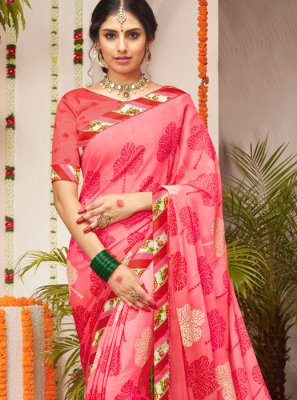 Lace Pink Trendy Saree