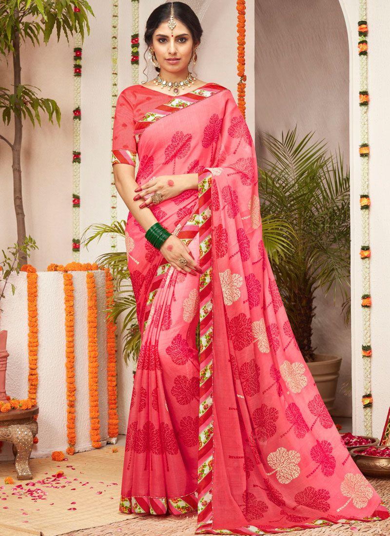 Lace Pink Trendy Saree