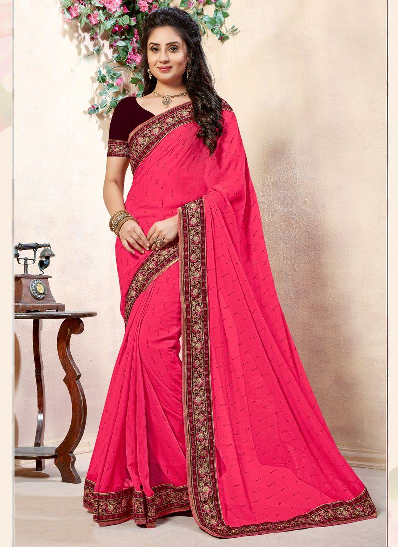Lace Rani Georgette Designer Contemporary Saree