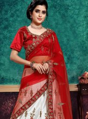 Lace Red and White Lehenga Choli