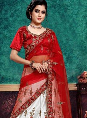 Lace Red and White Lehenga Choli