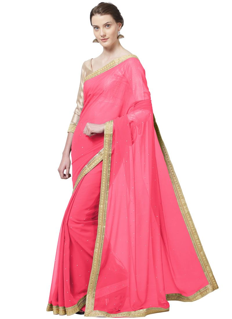 Lace Rose Pink Faux Georgette Saree