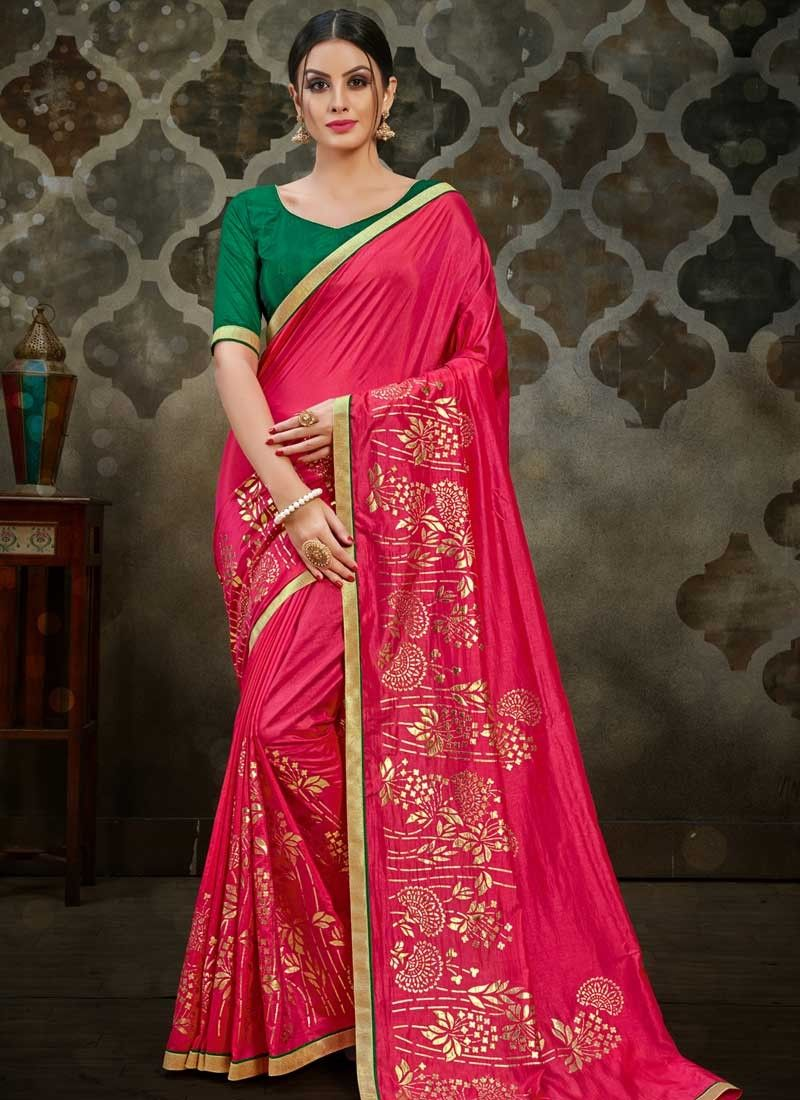 Lace Rose Pink Traditional Saree