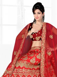 Lace Satin Silk Red Lehenga Choli