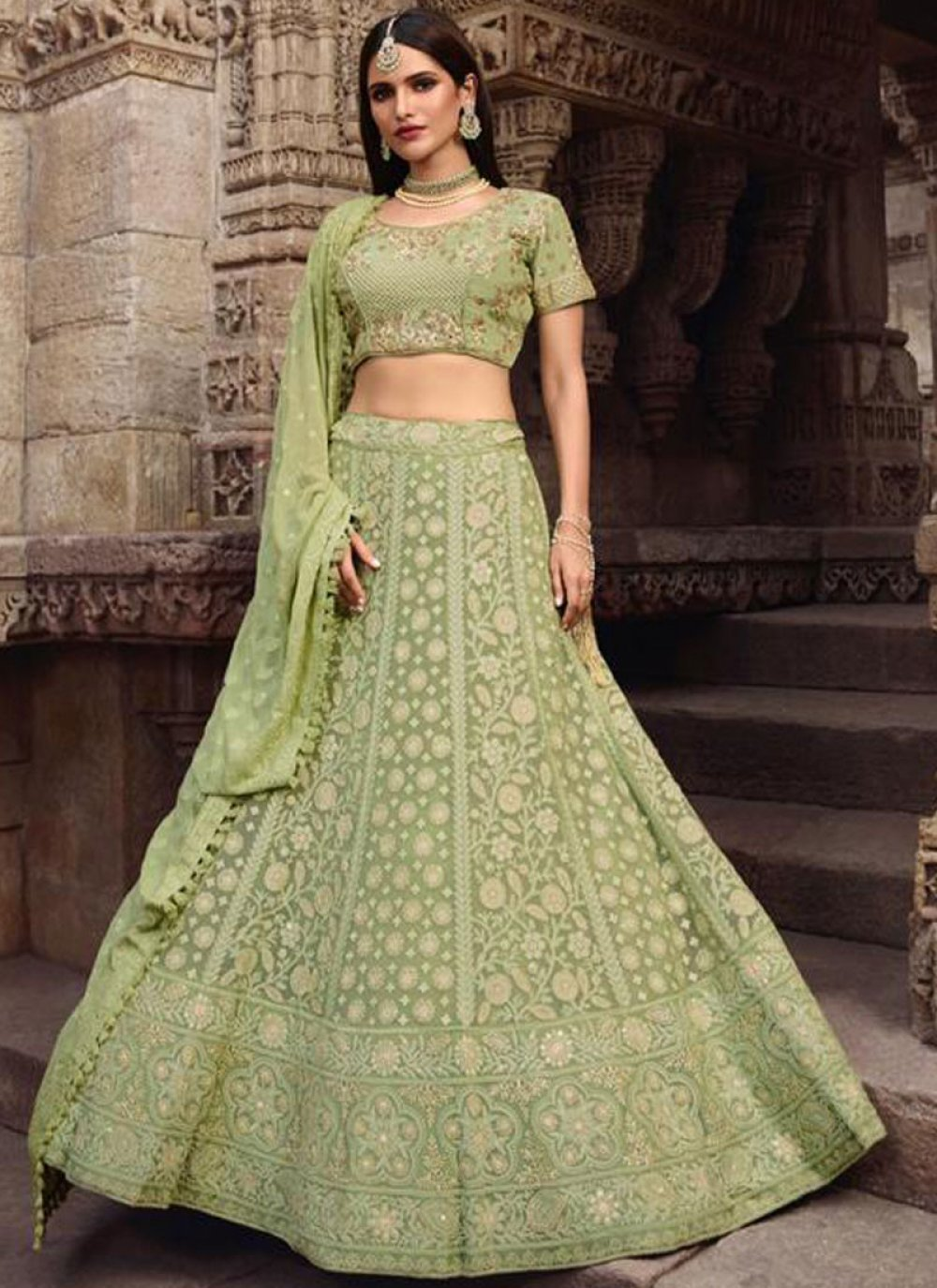Lace Sea Green Lehenga Choli