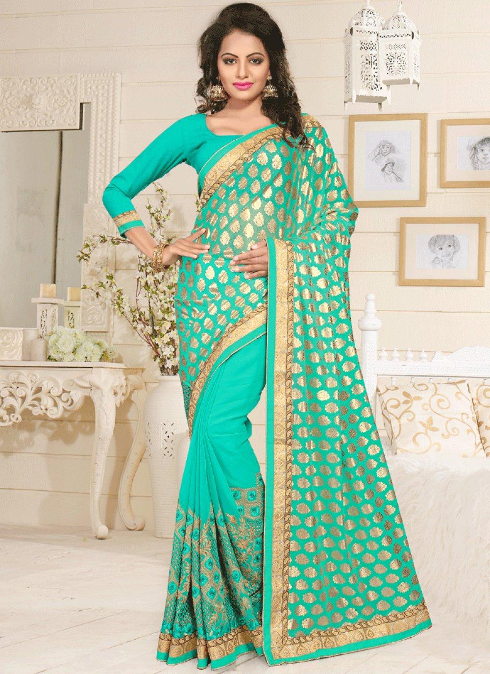 Lace Work Blue Lycra Classic Designer Saree