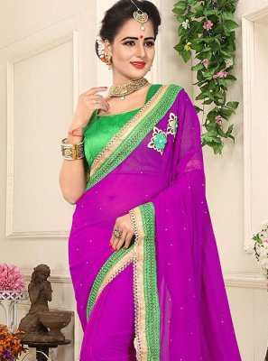 Lace Work Faux Georgette Designer Saree