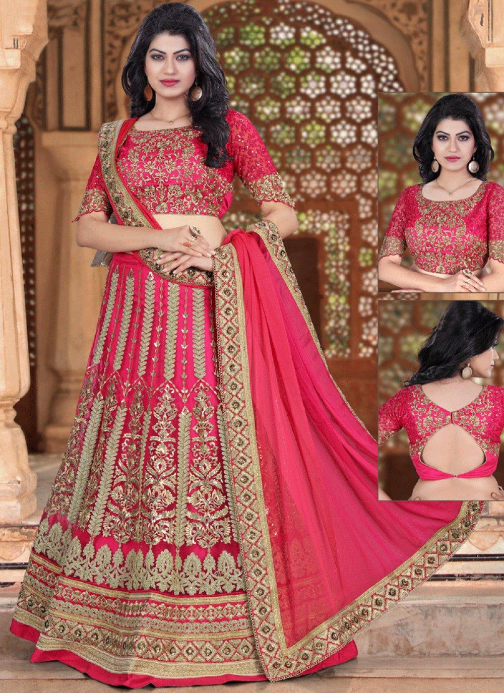 Lace Work Hot Pink Net Lehenga Choli