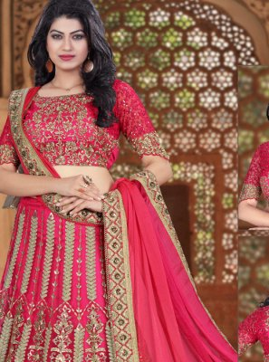Lace Work Hot Pink Net Lehenga Choli