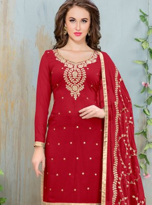 Lace Work Red Churidar Suit