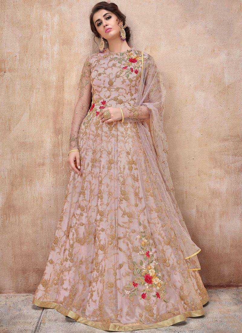 Lavender Color Floor Length Anarkali Suit