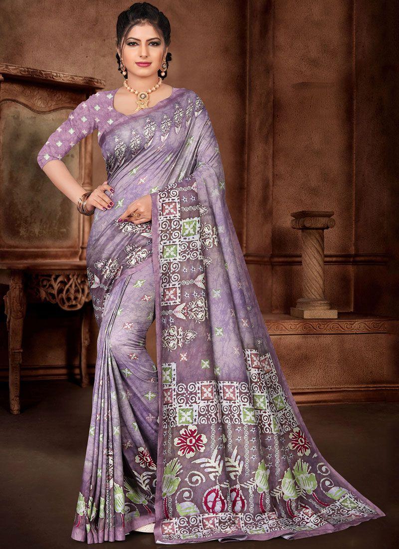 Lavender Color Trendy Saree