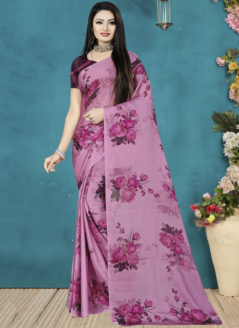 Lavender Digital Print Trendy Saree