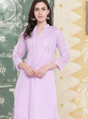 Lavender Embroidered Party Casual Kurti