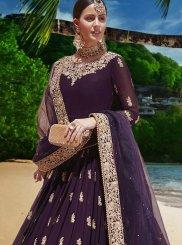Lavender Faux Georgette Anarkali Salwar Kameez