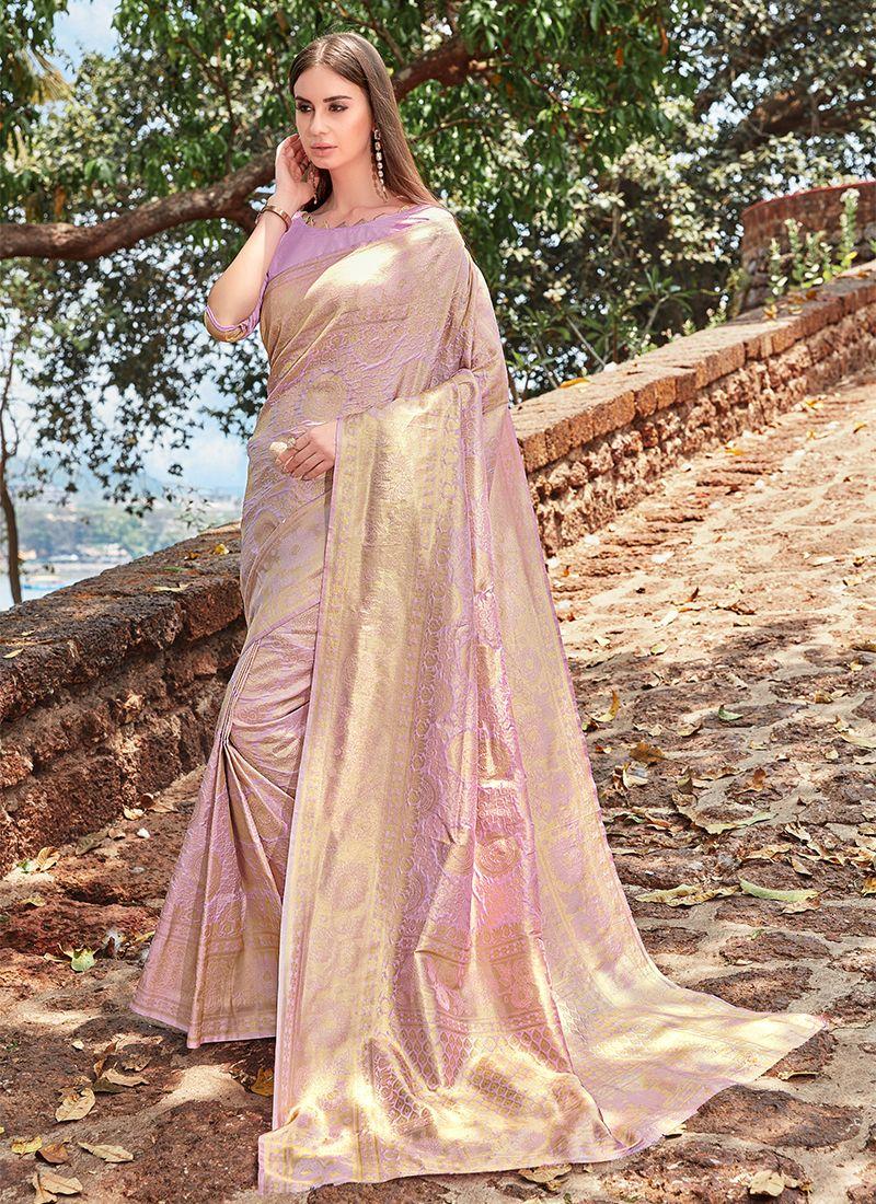 Lavender Jacquard Silk Festival Designer Traditional Saree
