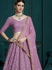 Lavender Party Faux Georgette Trendy Lehenga Choli