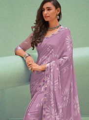 Lavender Printed Trendy Saree