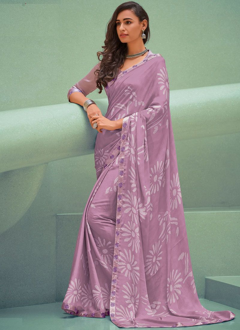 Lavender Printed Trendy Saree