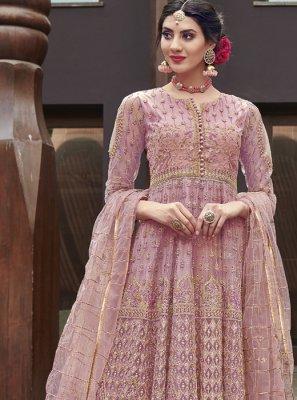 Lavender Sangeet Net Anarkali Salwar Suit
