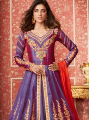 Lavender Silk Embroidered Desinger Anarkali Salwar Suit