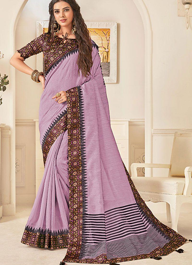 Lavender Traditional Designer Saree