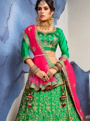 Lehenga Choli Diamond Satin Silk in Green