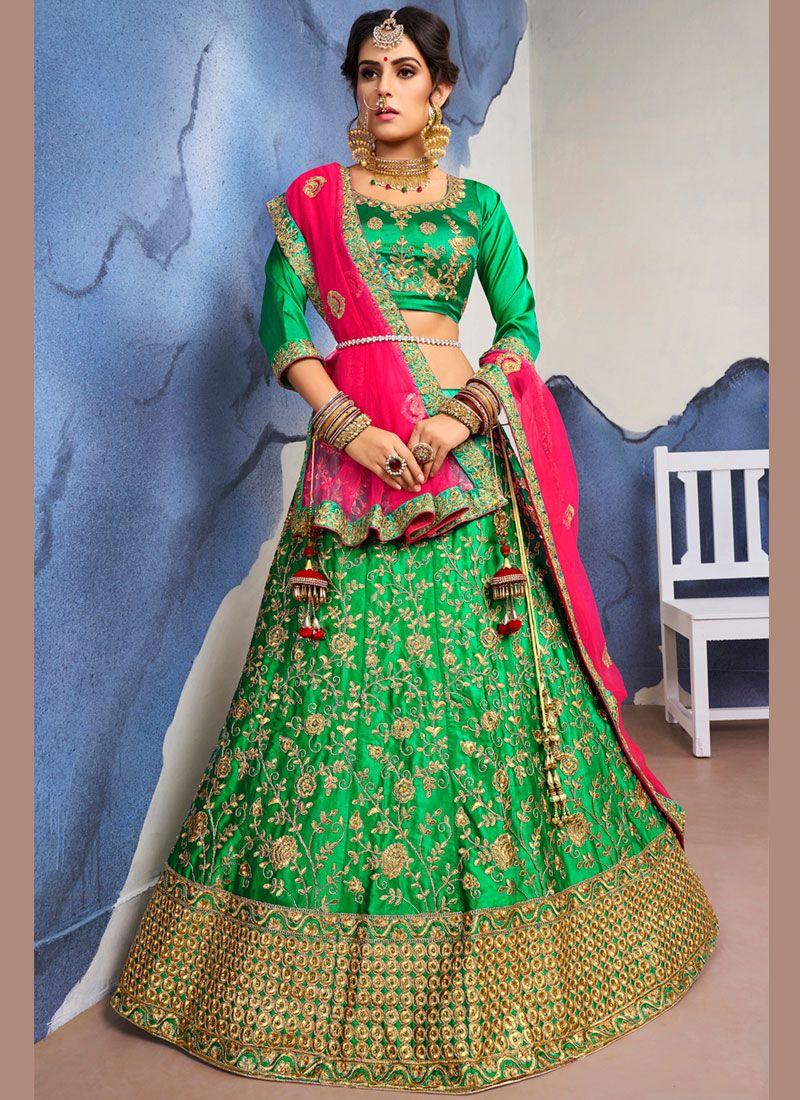 Lehenga Choli Diamond Satin Silk in Green