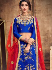 Lehenga Choli Embroidered Art Silk in Blue