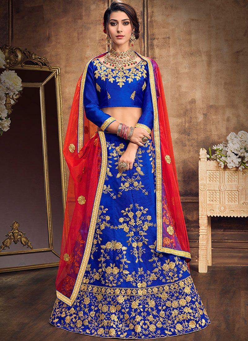 Lehenga Choli Embroidered Art Silk in Blue