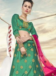Lehenga Choli Embroidered Art Silk in Green