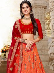 Lehenga Choli Embroidered Art Silk in Orange