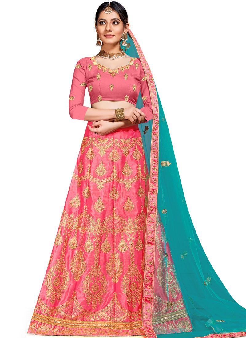 Lehenga Choli Embroidered Art Silk in Pink