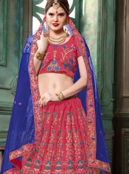 Lehenga Choli Embroidered Art Silk in Pink