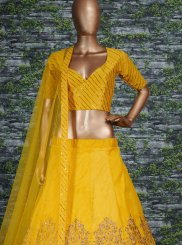 Lehenga Choli Embroidered Malbari Silk  in Yellow