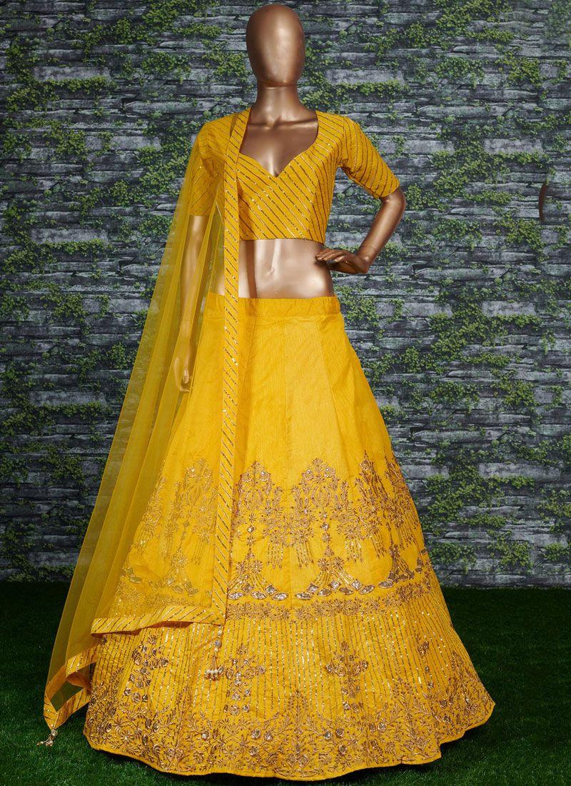 Lehenga Choli Embroidered Malbari Silk  in Yellow