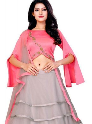 Lehenga Choli Embroidered Net in Grey