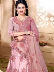 Lehenga Choli Embroidered Satin Silk in Pink