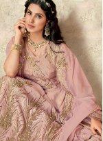 Lehenga Choli Embroidered Tafeta Silk in Pink