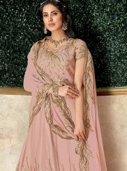 Lehenga Choli Embroidered Tafeta Silk in Pink