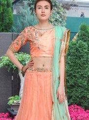 Lehenga Choli Lace Net in Peach